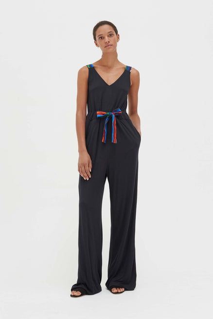Navy Bamboo Jersey Rainbow Belt Jumpsuit