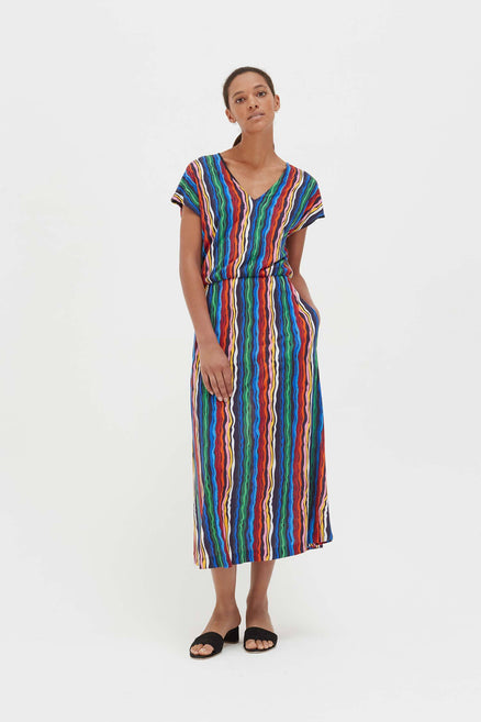 Rainbow Striped Jersey Dress