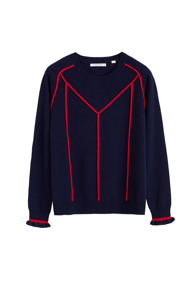 Navy Ribbon Wool Sweater image 2