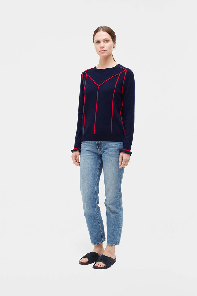Navy Ribbon Wool Sweater image 3
