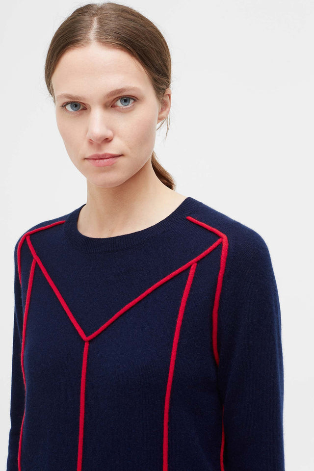 Navy Ribbon Wool Sweater image 1