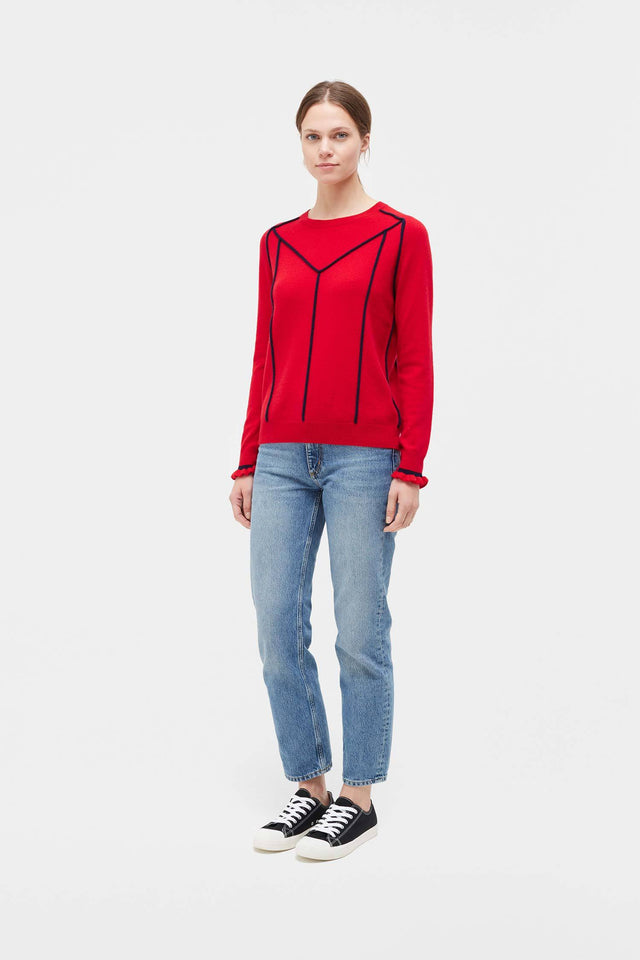 Red Ribbon Wool Sweater image 3