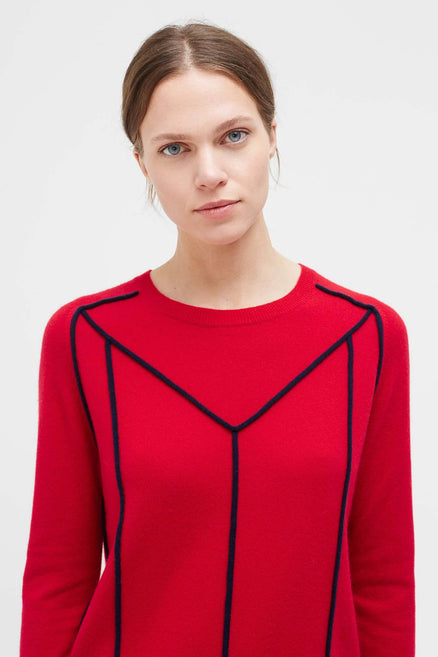 Red Ribbon Wool Sweater