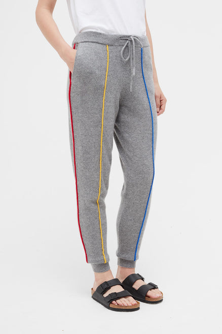 Grey Ribbon Cashmere Track Pants