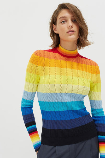 Rainbow Ombré Sunset Pointelle Sweater