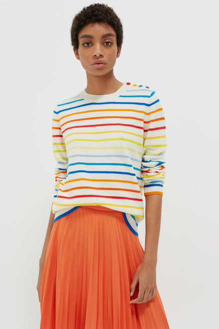 Rainbow Breton Stripe Cashmere Sweater