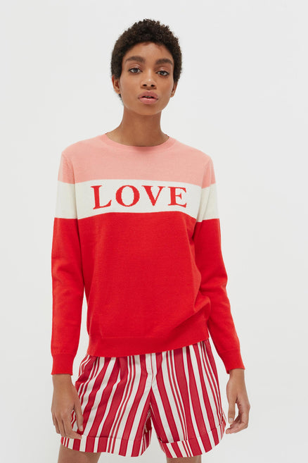 Red Colour Block Love Cashmere Sweater