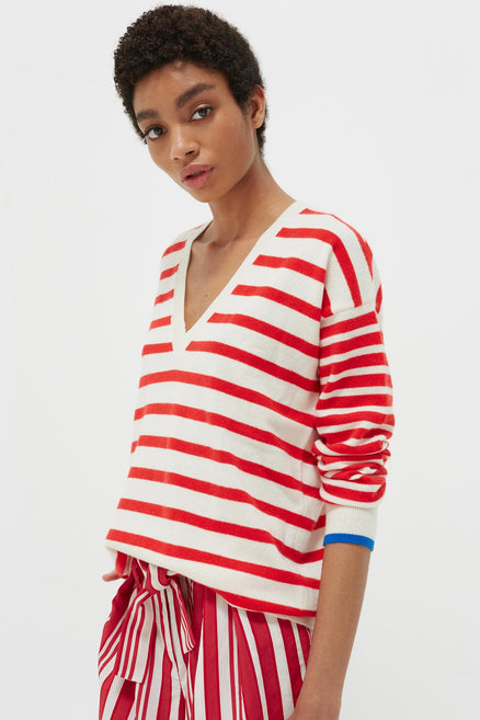 Red Striped Cashmere V Neck Sweater