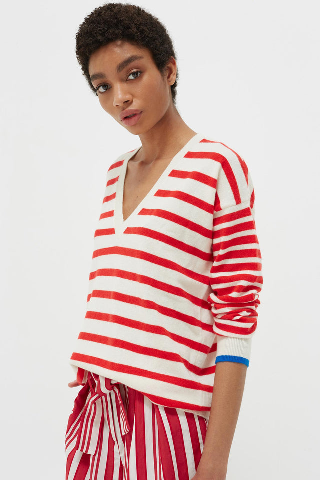 Red Striped Cashmere V Neck Sweater image 1