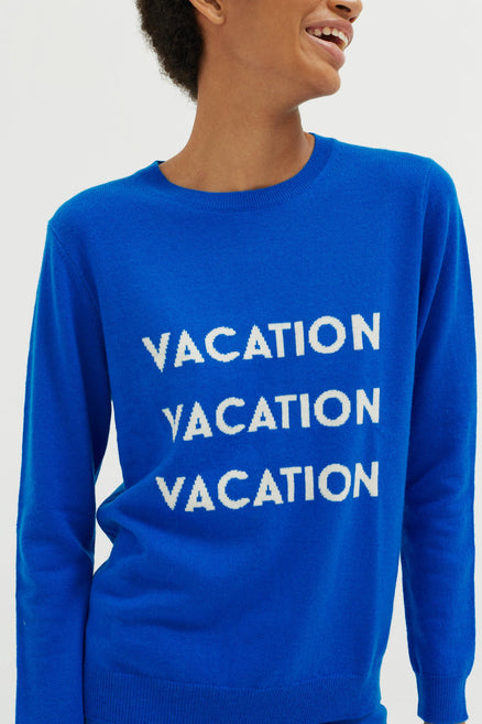 Royal Blue Vacation Wool-Cashmere Sweater