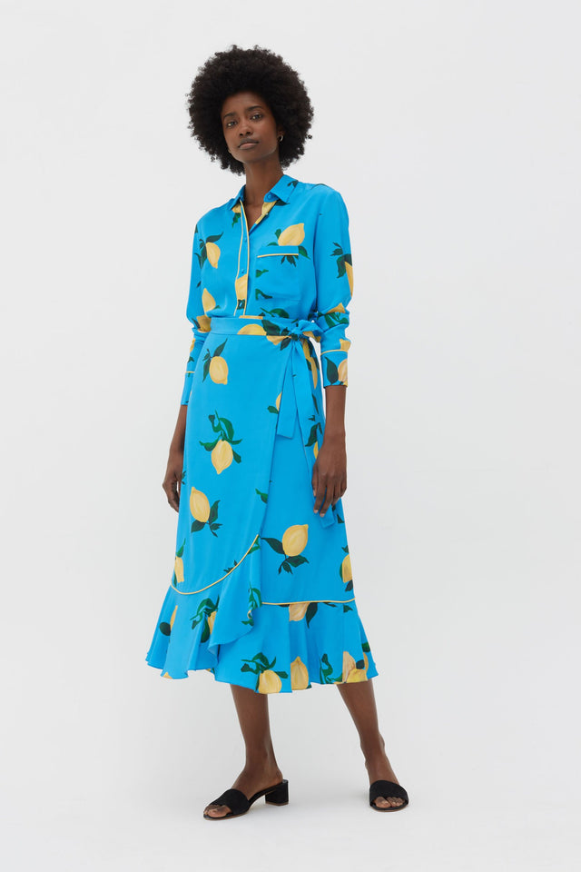 Blue Lemon Print Silk Wrap Skirt image 4