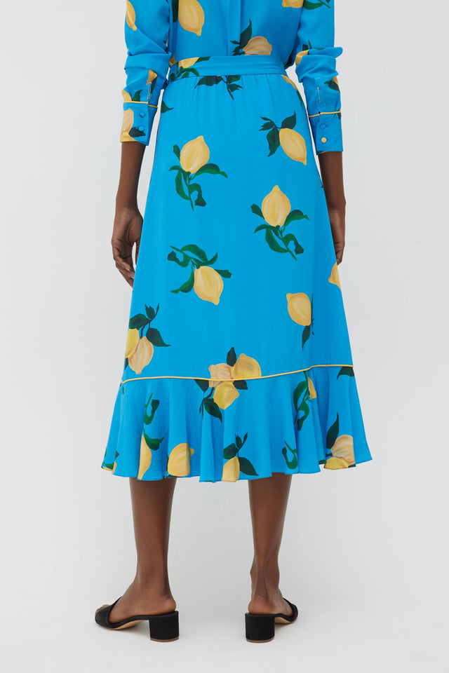 Blue Lemon Print Silk Wrap Skirt image 5
