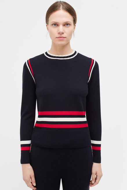 Navy Sporty Stripe Merino Wool Sweater