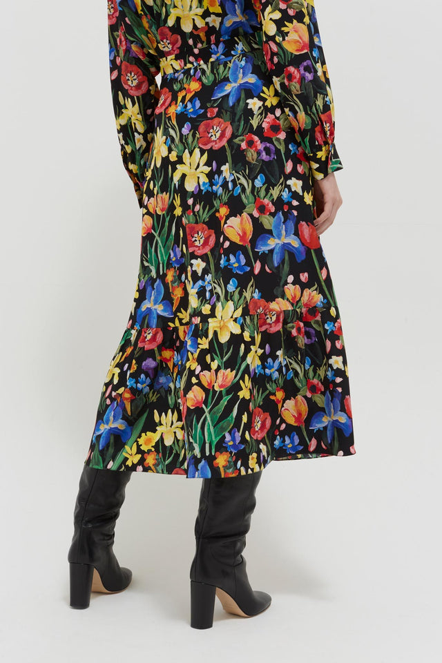Black Charleston Floral-Print Silk Skirt image 4