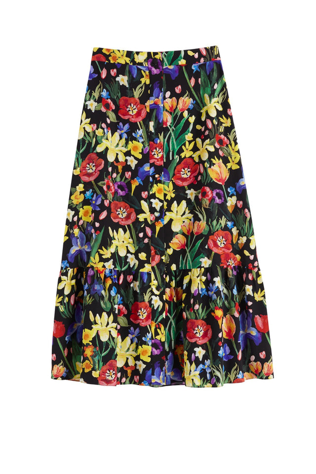 Black Charleston Floral-Print Silk Skirt image 2