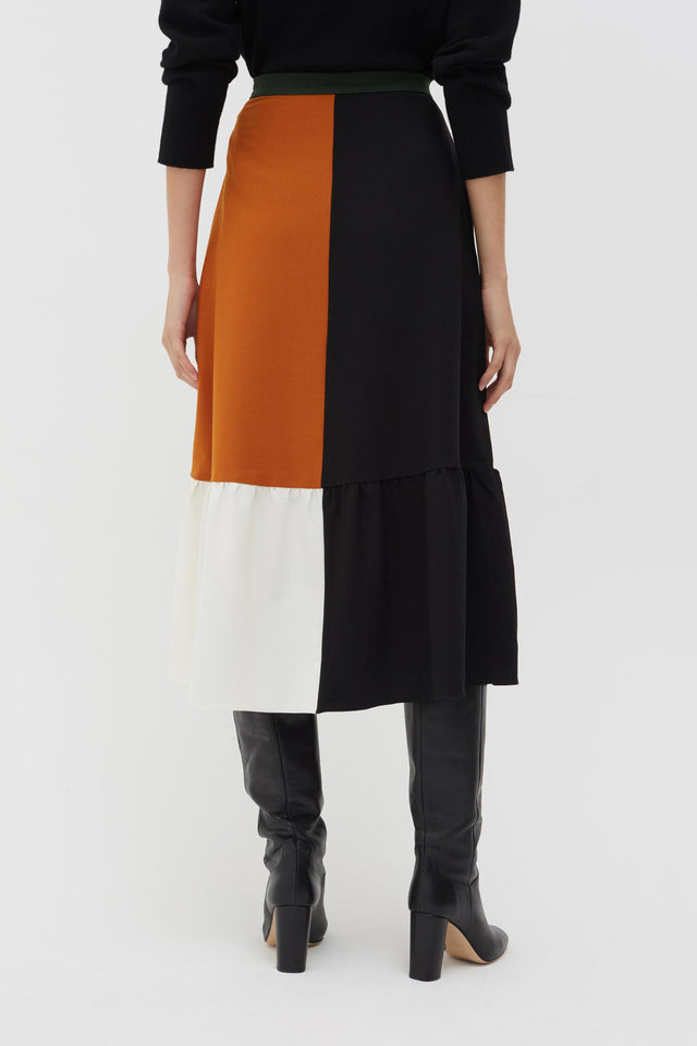 Black Colour Block Wool-Twill Skirt image 4
