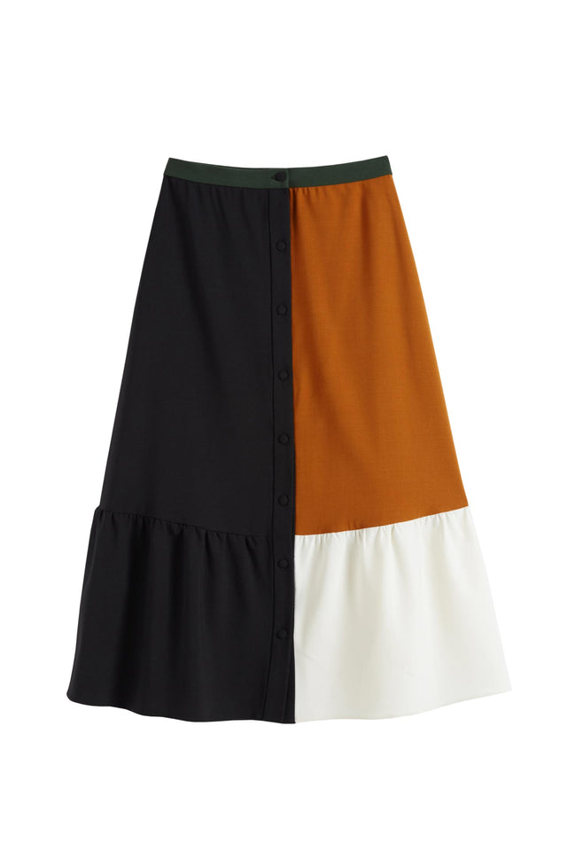Black Colour Block Wool-Twill Skirt image 2