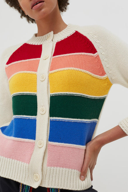 Cream Cashmere Rainbow Cardigan