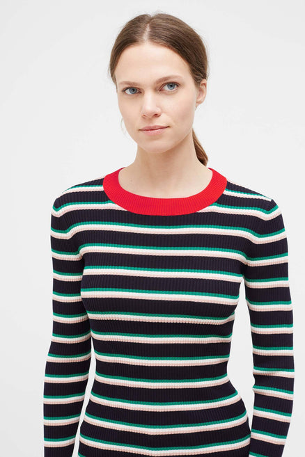 Navy Striped Rib Sweater