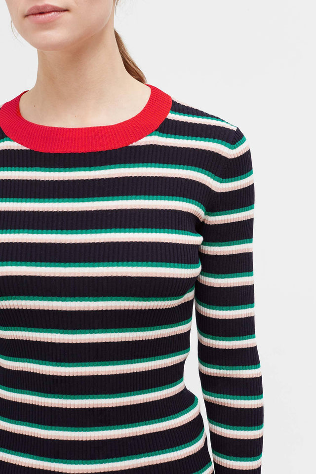 Navy Striped Rib Sweater image 4