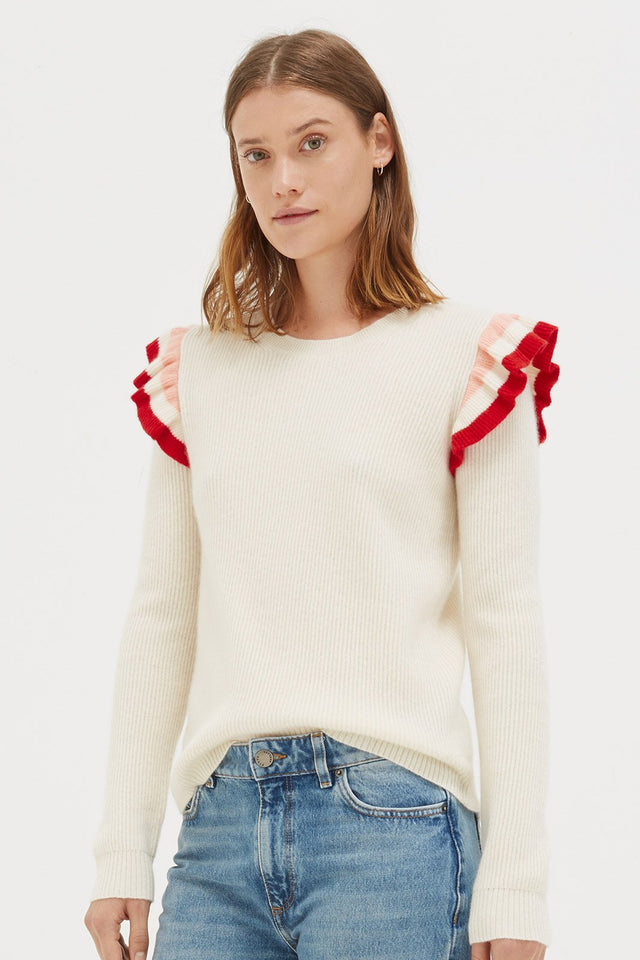 Cream Stripe Frill Cashmere Sweater image 1
