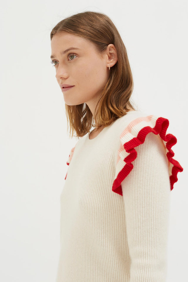 Cream Stripe Frill Cashmere Sweater image 4
