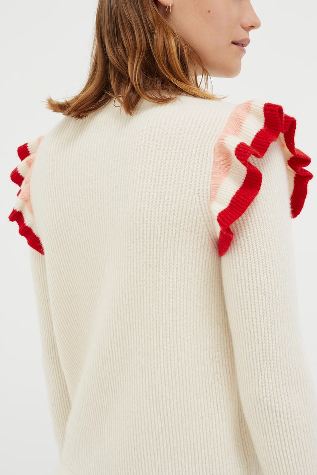 Cream Stripe Frill Cashmere Sweater image 3