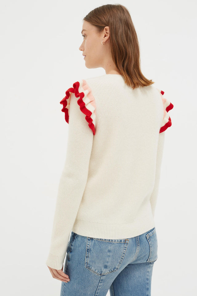 Cream Stripe Frill Cashmere Sweater image 2