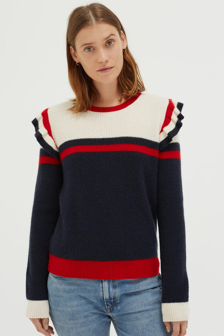 Navy Stripe Frill Cashmere Sweater