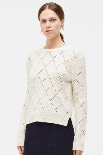 Cream Harlequin Wool Sweater