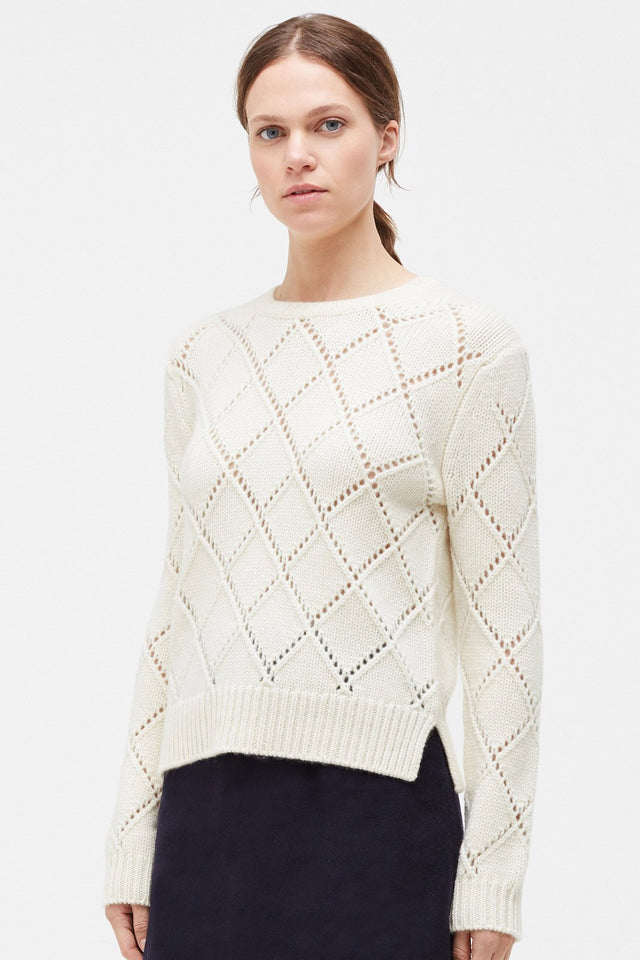 Cream Harlequin Cashmere Sweater image 1