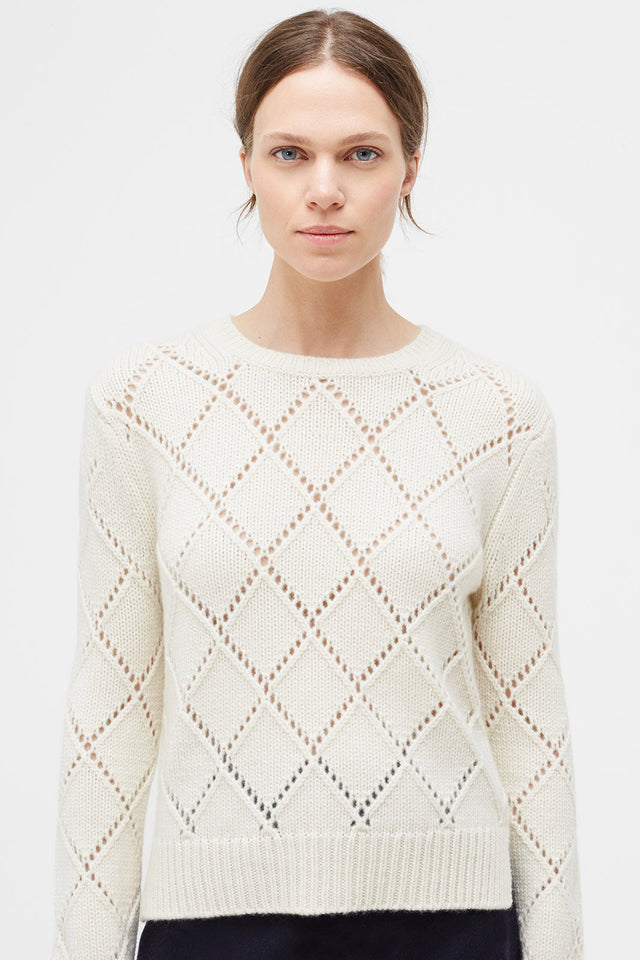 Cream Harlequin Cashmere Sweater image 2
