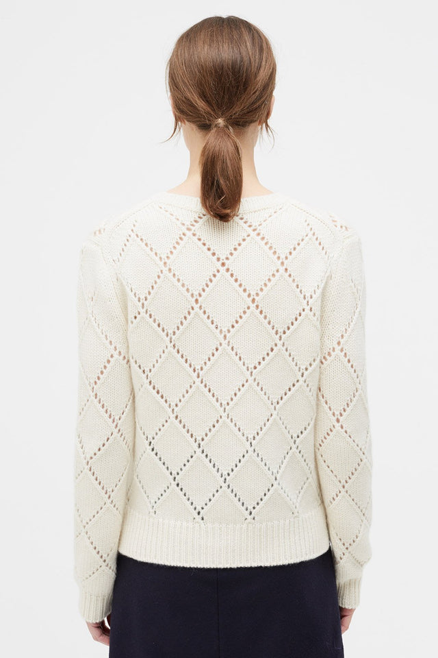 Cream Harlequin Cashmere Sweater image 3