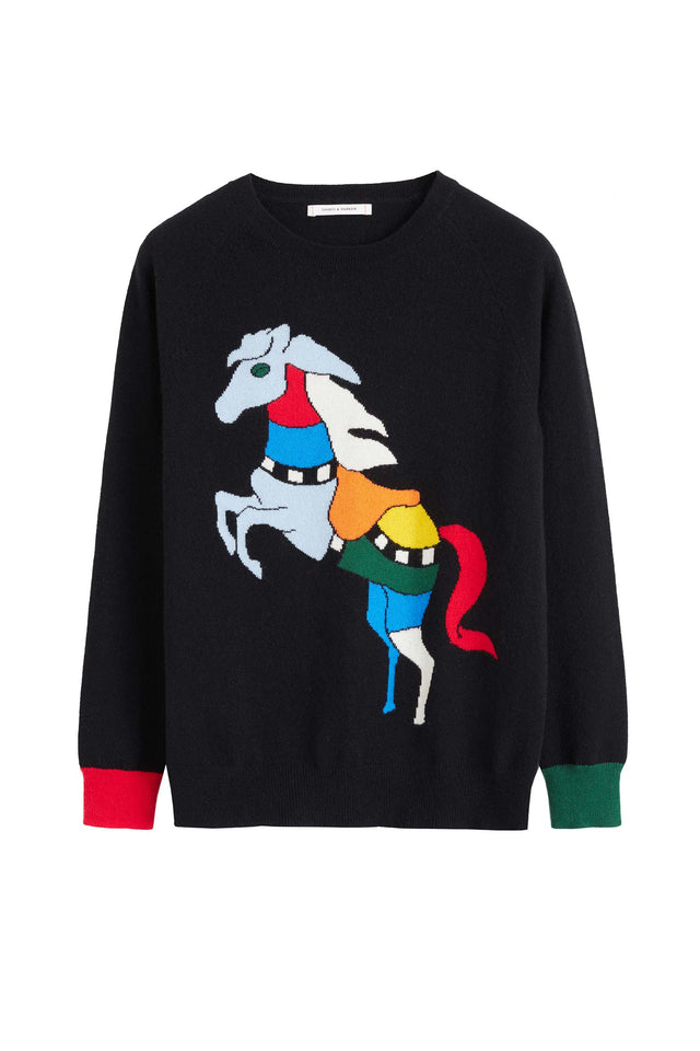 Black Majestic Horse Cashmere Sweater image 2