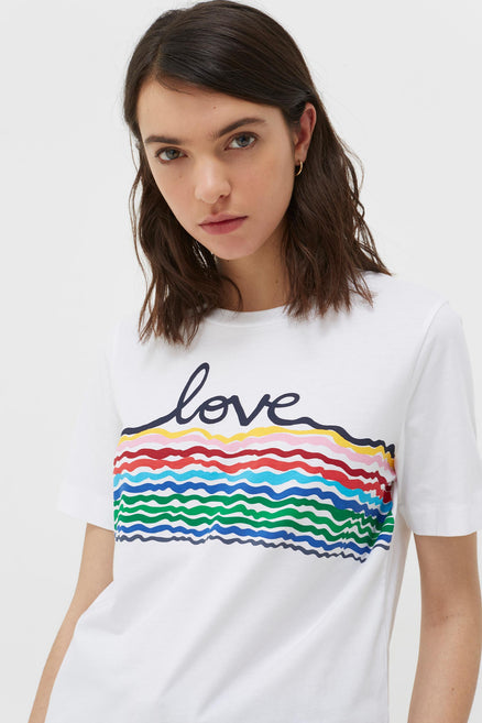 White Cotton Love Rainbow T-Shirt