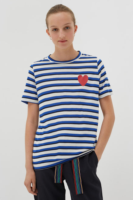 Blue Bamboo Jersey Striped Heart T-shirt