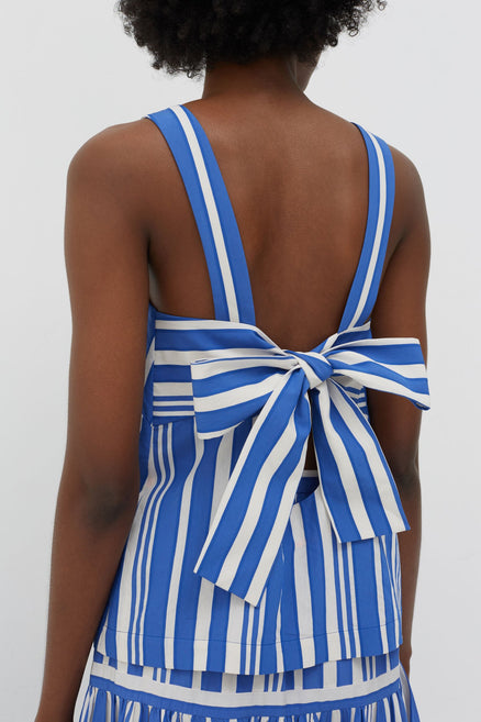 Blue Striped Parasol Tie Back Top