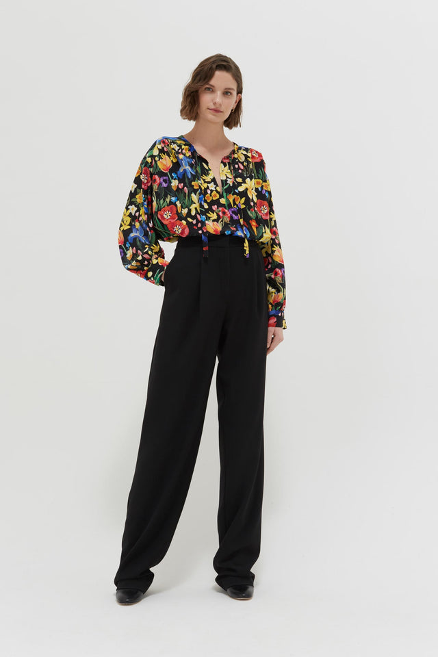 Black Charleston Floral Print Silk Blouse image 4