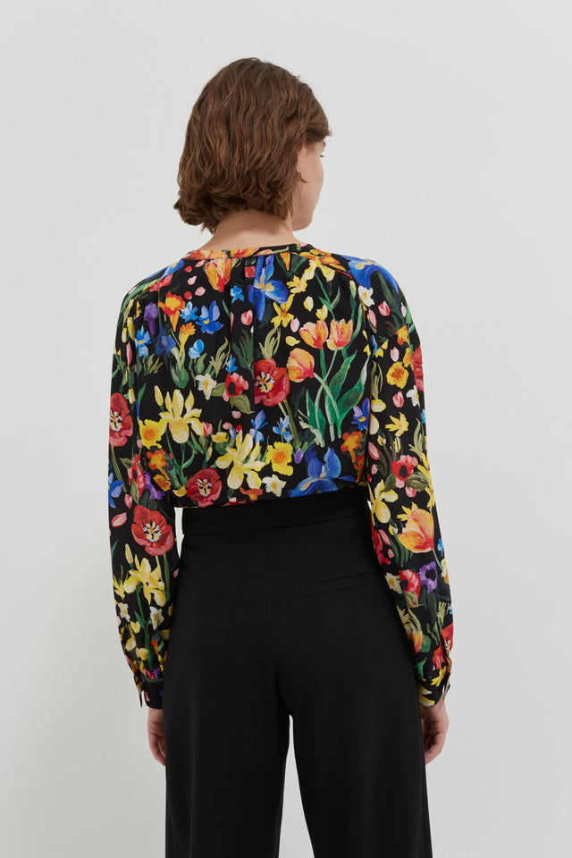 Black Charleston Floral Print Silk Blouse image 5