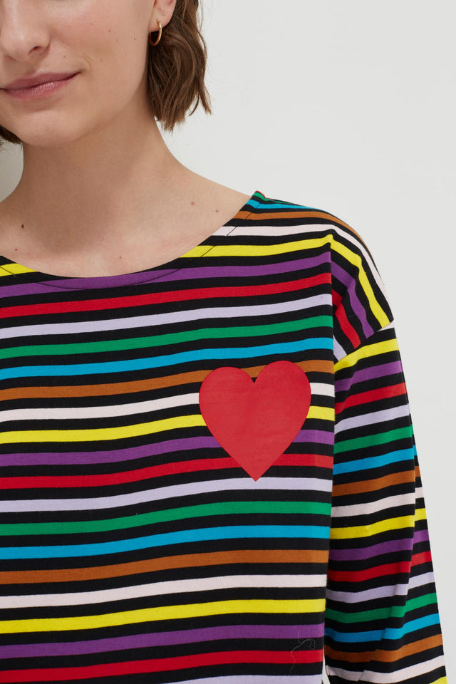 Navy Striped Heart Cotton T-Shirt image 5