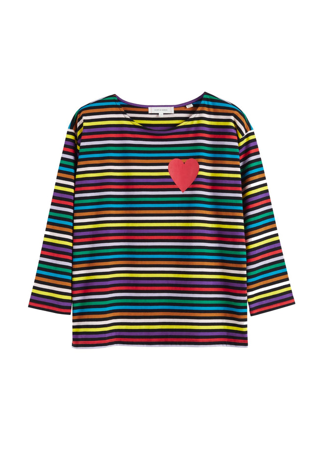 Navy Striped Heart Cotton T-Shirt image 2