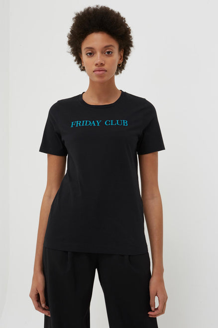 model shot of black-friday-club-cotton-t-shirt embroidered with 'Friday Club' a light-hearted piece From Chinti & Parker