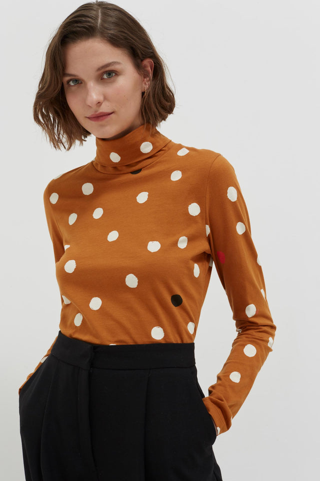 Ginger Painted Spot Long Sleeve Cotton T-Shirt image 1