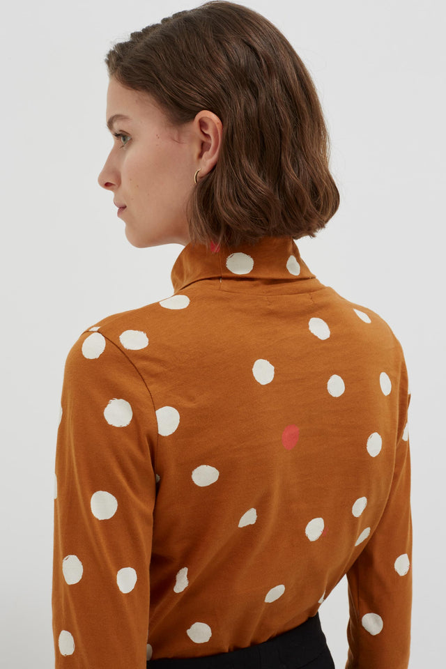 Ginger Painted Spot Long Sleeve Cotton T-Shirt image 4