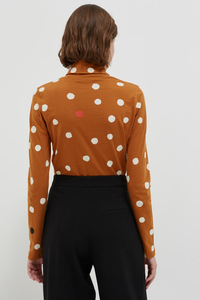 Ginger Painted Spot Long Sleeve Cotton T-Shirt image 5