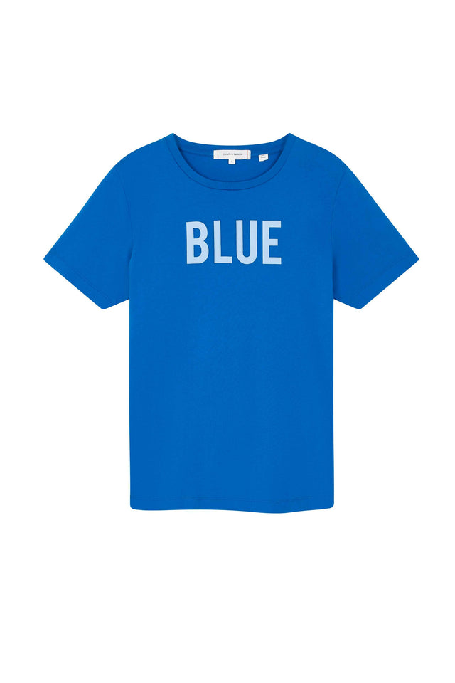 Blue Slogan Cotton T-Shirt image 2