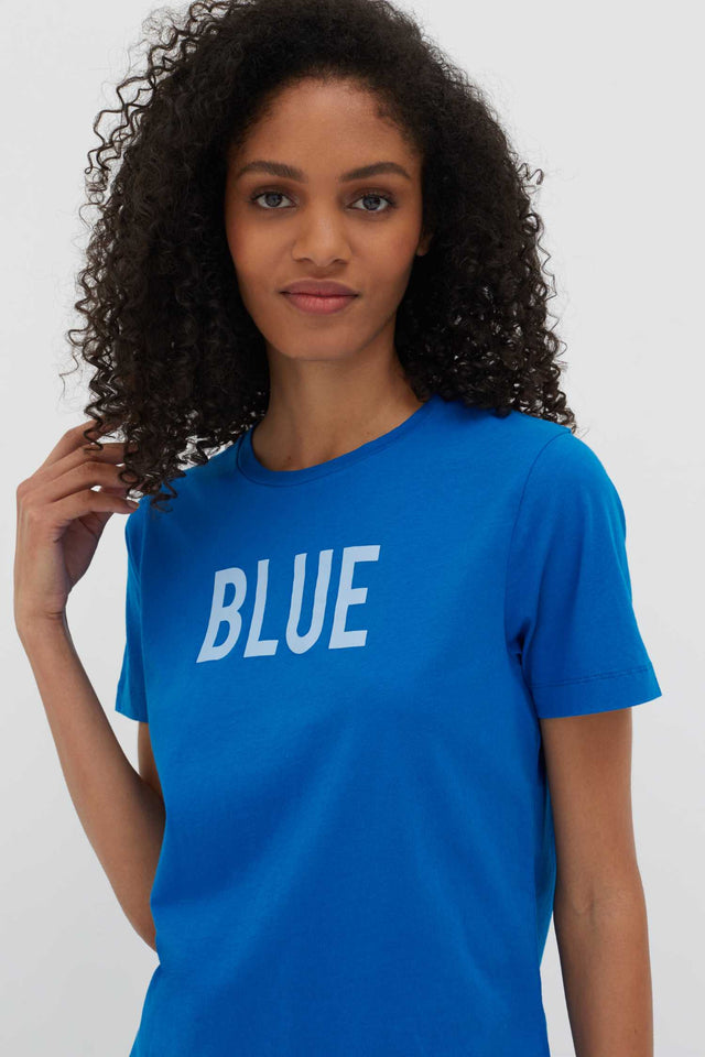 Blue Slogan Cotton T-Shirt image 1