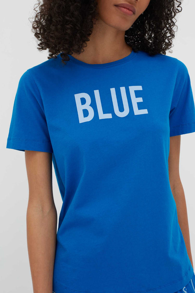 Blue Slogan Cotton T-Shirt image 5