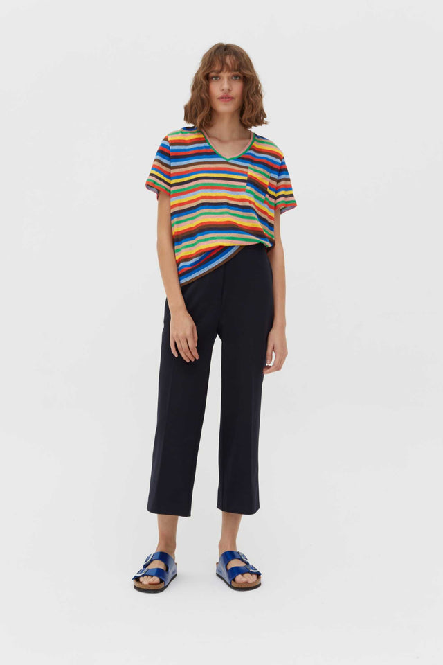 Multicoloured Ribbon Stripe Linen T-Shirt image 2
