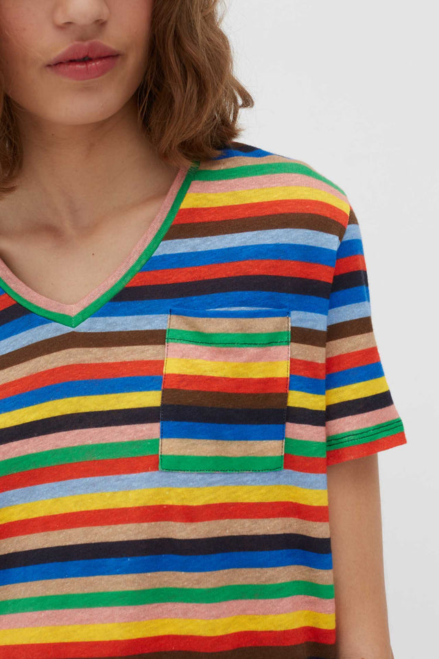 Multicoloured Ribbon Stripe Linen T-Shirt image 4